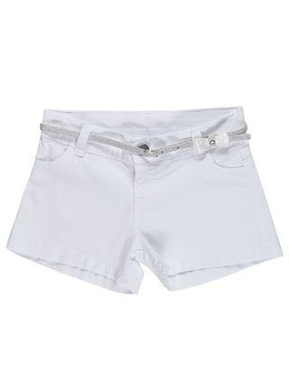 Short Sarja Juvenil para Menina - Branco