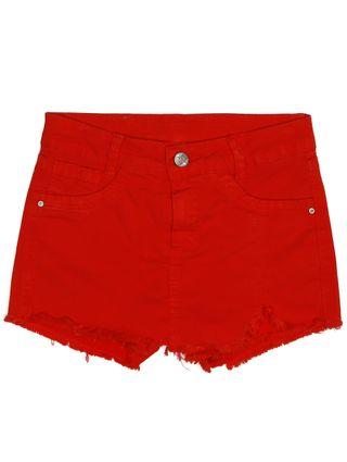 Short Sarja Juvenil para Menina - Vermelho