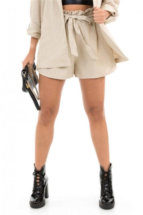 Shorts Clochard em Linho com Amarração SH0386 - Kam Bess