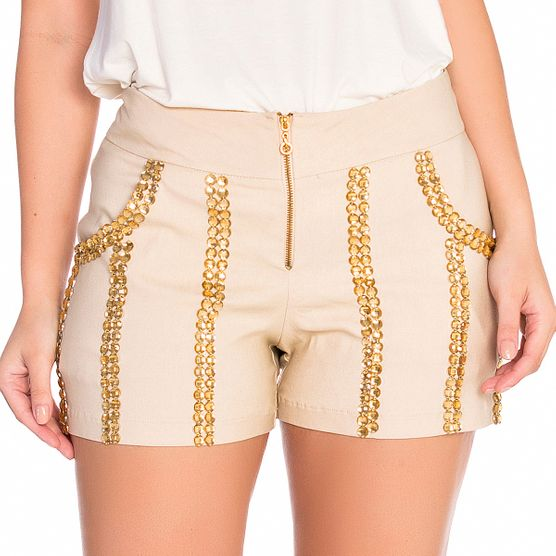 Shorts com Bolso e Bordado Manual M