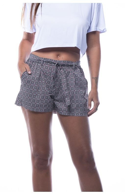 Shorts Curto com Bolso-estampado - P