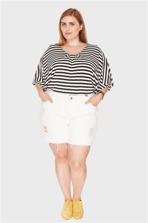 Shorts Destroyed Plus Size Off White-48