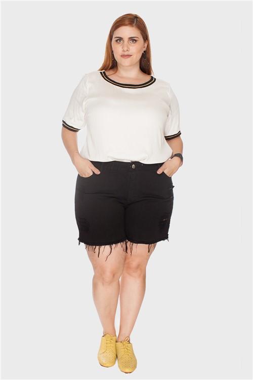 Shorts Destroyed Plus Size Preto-50