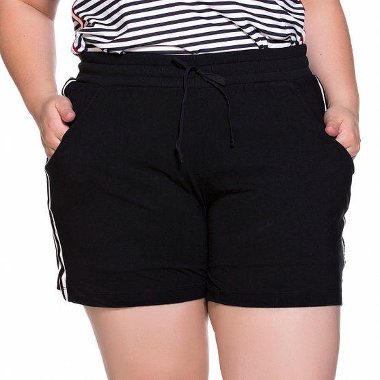 Shorts em Malha com Listra Lateral Plus Size M