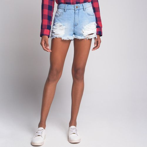 Shorts Hotpants Destroyed Jeans Azul Claro - 42