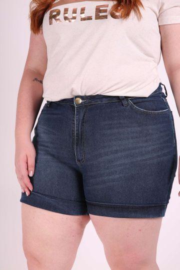 Short Jeans com Barra Virada Plus Size 46