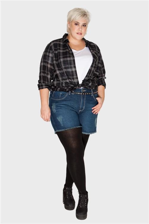 Shorts Jeans Plus Size Azul Escuro-46