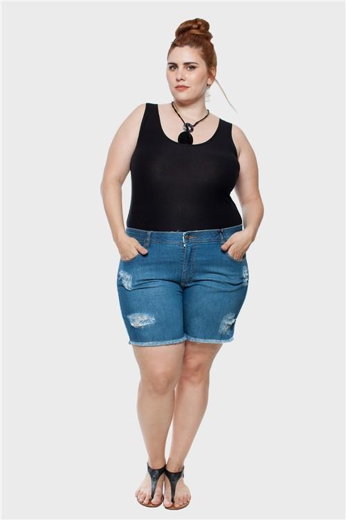 Shorts Jeans Stone Puídos Plus Size Azul-48