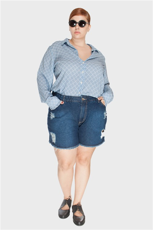 Shorts Jeans Upcycle Stone Plus Size Azul-48
