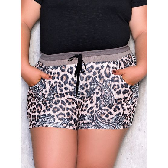 Shorts Plus Size Animal Print com Ribana Cinza PP
