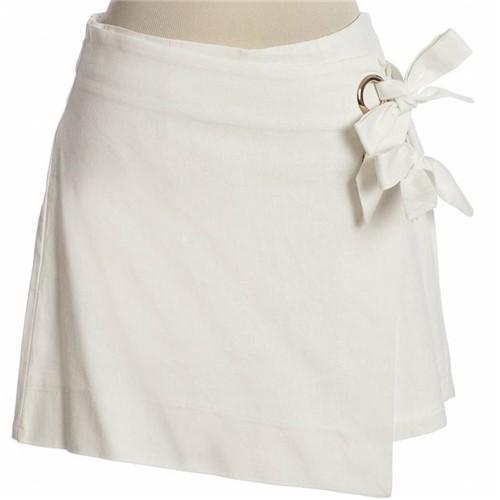Shorts Saia com Laço Linho Off White