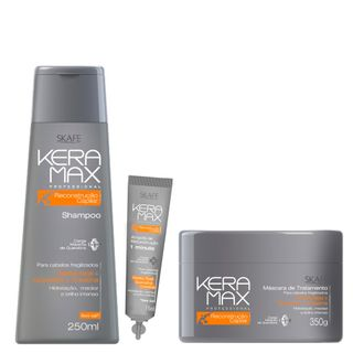 Skafe Keramax Reconstrução 1 Minuto Kit - Shampoo + Máscara + Ampola Grátis Kit