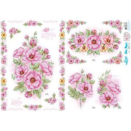 Slim Paper Decoupage Lili Negrão 33,8 X 47,3 Cm - SPL1-003 Rosa Silvestre