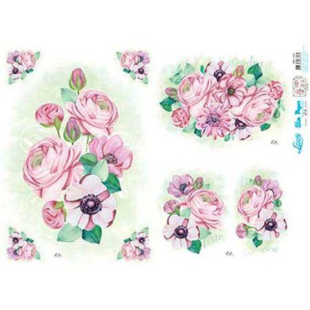Slim Paper Decoupage Lili Negrão 33,8 X 47,3 Cm - SPL1-001 Peônias