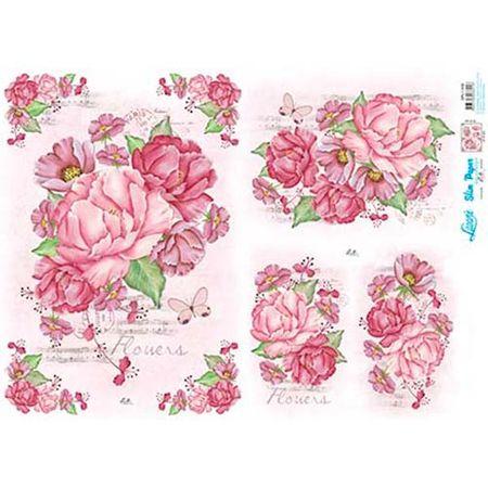 Slim Paper Decoupage Lili Negrão 33,8 X 47,3 Cm - SPL1-006 Peônias