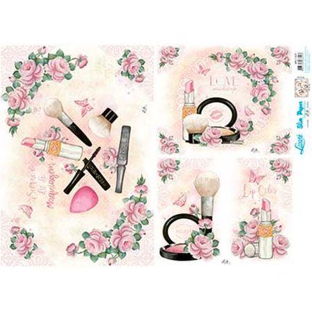 Slim Paper Decoupage Lili Negrão 33,8 X 47,3 Cm - SPL1-007 Rosas e Maquiagem