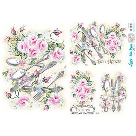 Slim Paper Decoupage Lili Negrão 33,8 X 47,3 Cm - SPL1-009 Rosas e Talheres
