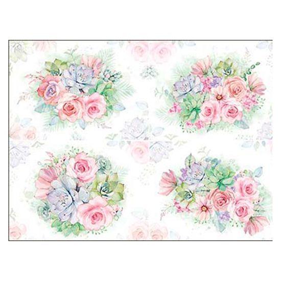 Slim Paper Decoupage Litoarte 47,3x33,8 SPL-005 Flores e Suculentas