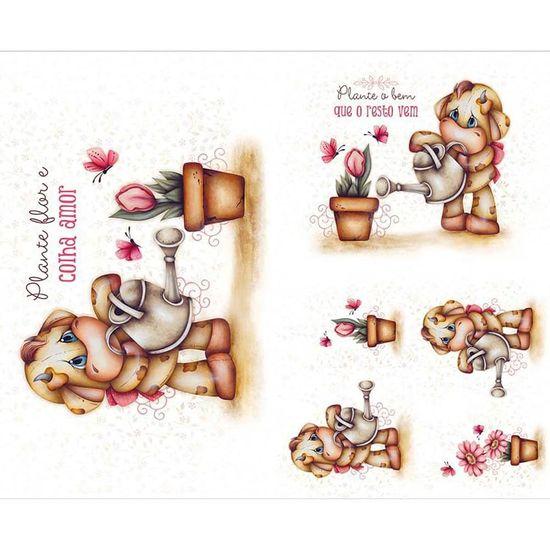 Slim Paper Decoupage Litoarte 47,3x33,8 SPL-049 Vaca e Flores