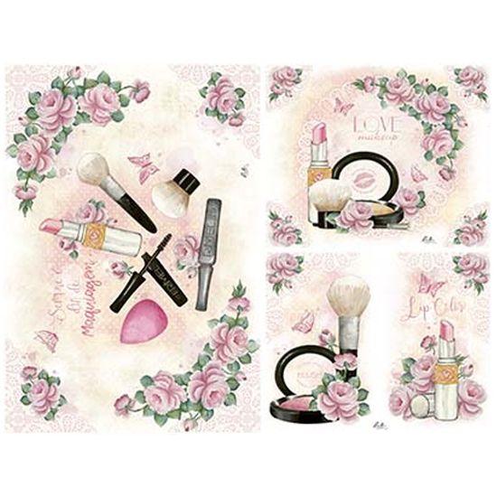 Slim Paper Decoupage Litoarte 47,3x33,8 SPL1-007 Rosas e Maquiagem