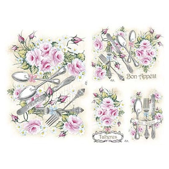 Slim Paper Decoupage Litoarte 47,3x33,8 SPL1-009 Rosas e Talheres