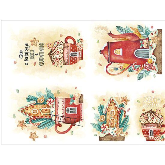 Slim Paper Decoupage Natal Litoarte 47,3x33,8 SPLN-008 Xícara e Bule Aquarela
