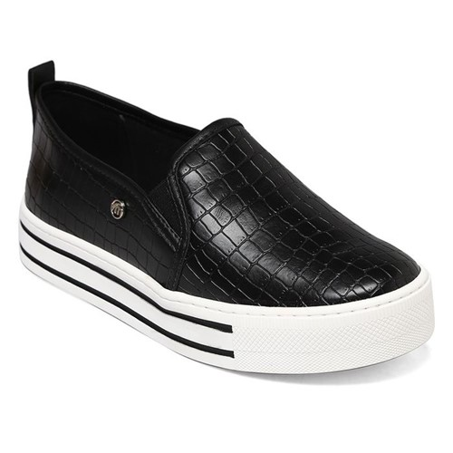Slip On Flatform Via Marte Croco Square Preto 19-905