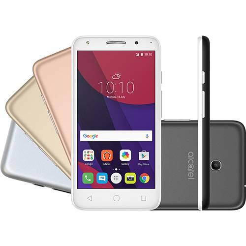 """Smartphone Alcatel PIXI4 5"""" Metallic Dual Chip Android 6.0 Tela 5"""" 8GB + 16GB (cartão SD) 4G Câmera 8MP Selfie 5MP Flash Frontal + 4 Capas Metálicas - Prata"""