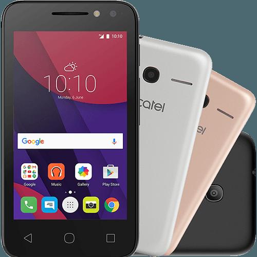 "Smartphone Alcatel PIXI4 Metallic Dual Chip Android 6.0 Tela 4"" Memória 8GB 3G Câmera 8MP Selfie 5MP Flash Frontal Quad Core - Preto"