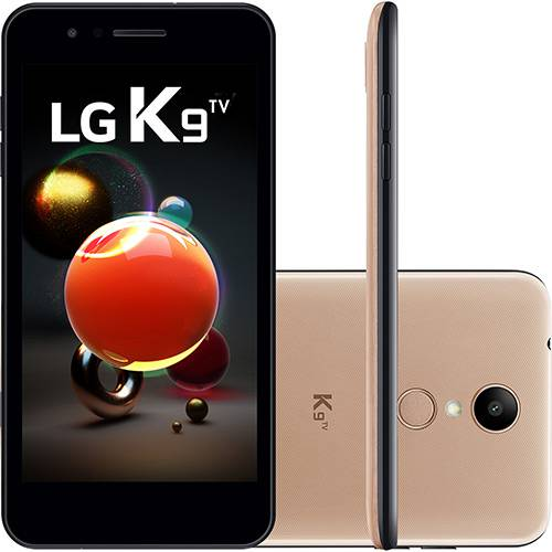"""Smartphone LG K9 TV Dual Chip Android 7.0 Tela 5"""" Quad Core 1.3 Ghz 16GB 4G Câmera 8MP - Dourado"""