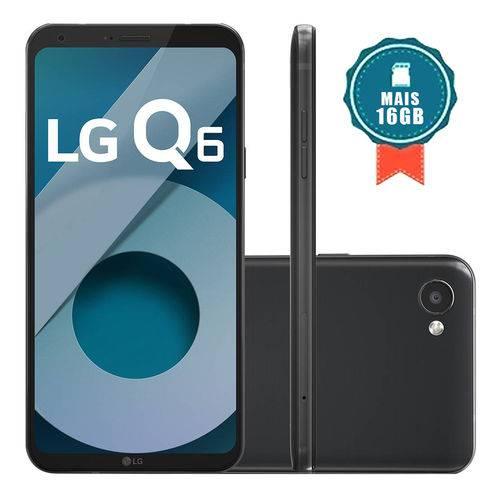 """Smartphone LG Q6 32GB 4G Tela 5.5"""" Câmera 13MP Preto + Cartão SD 16GB"""