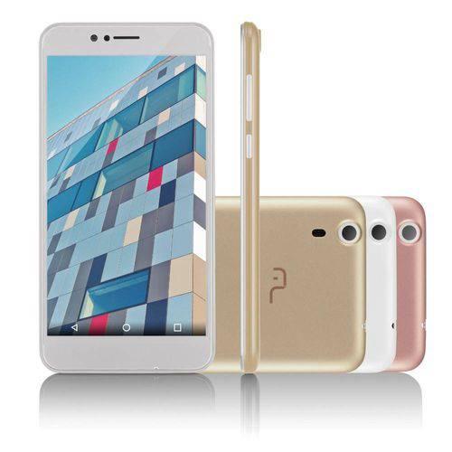 "Smartphone Multilaser Ms55 Colors Branco 5,5"" 5.0 Mp+8.0mp 3g Quad 8gb + 16gb Sd Card 5.1- P9004"