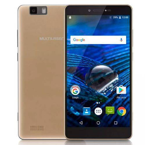 "Smartphone Multilaser MS70, Dourado, P9037, Tela de 5.85"", 32GB, 16MP"