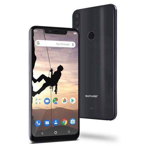 "Smartphone Multilaser MS80X 4G Android 8.1 Qualcomm 4GB RAM e 64GB Tela 6,2""HD Câm Traseira 12MP+5MP Cam Frontal 16MP Preto - NB743"