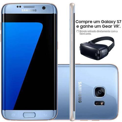 "Smartphone Samsung Galaxy S7 Edge G935f 32gb 4g Azul Coral - Android 6.0, 12mp, Tela 5.5"""