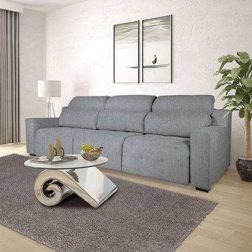 Sofá 4 Lugares Retrátil e Reclinável com Pistão, Modelo Candi, Tecido Linhares Cinza, Silla