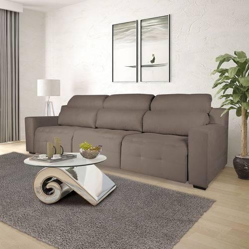 Sofá 4 Lugares Retrátil e Reclinável com Pistão, Modelo Candi, Tecido Suede Veludo Taupe, Silla