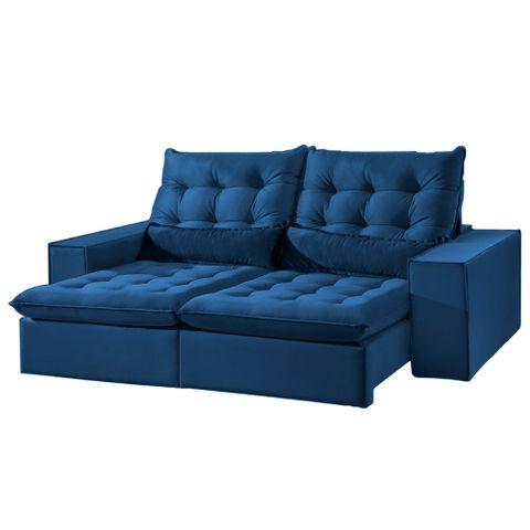 Sofá Lamborguini - Retrátil e Reclinável - Azul Luxo - 210cm