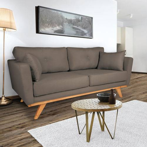 Sofá 3 Lugares Belle Suede Taupe - Silla