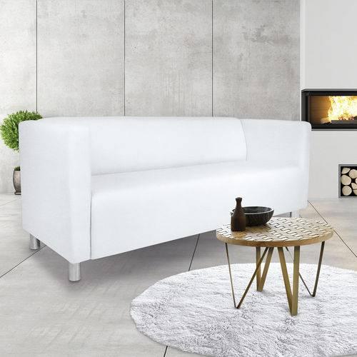 Sofá 3 Lugares, Modelo Urbano, Tecido Courino Branco, Silla