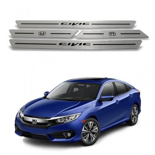 Soleira Portas Honda Civic Resinada Aço Escovado 491