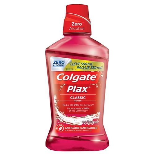Solução Bucal Colgate Plax Classic Sem Álcool Leve 500ml Pague 350ml
