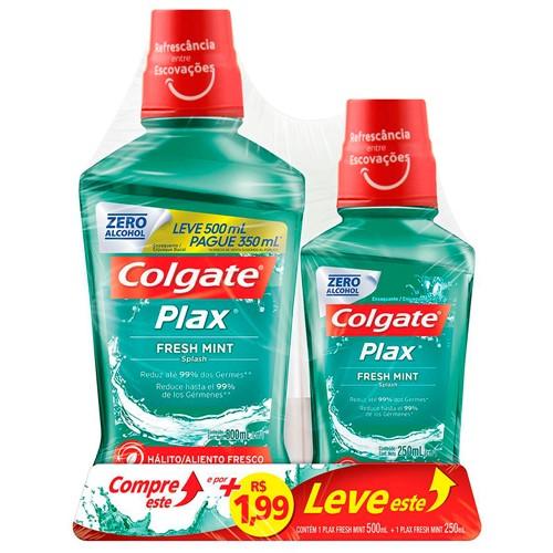 Solução Bucal Colgate Plax Fresh Mint com Flúor Sem Álcool Leve 500ml Pague 350ml e por + 1,99 Leve 250ml