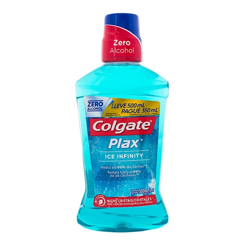 Solução Bucal Colgate Plax Ice Infinity com Flúor Sem Álcool Leve 500ml Pague 350ml