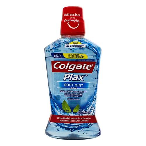 Solução Bucal Colgate Plax Soft Mint com Flúor Sem Álcool Leve 500ml e Pague 350ml