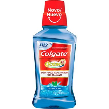 Solução Bucal Total 12 Clean Mint Colgate 250ml Cx. C/ 12 Un.