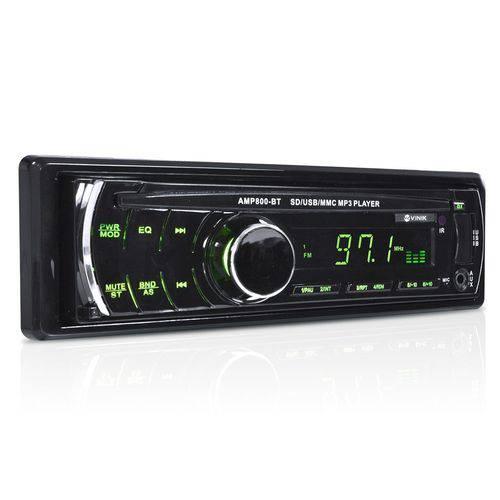 Som Automotivo Auto Rádio Mp3 Player USB/Sd/Fm/Aux/Bluetooth 4x45w com Controle Remoto Amp800-Bt