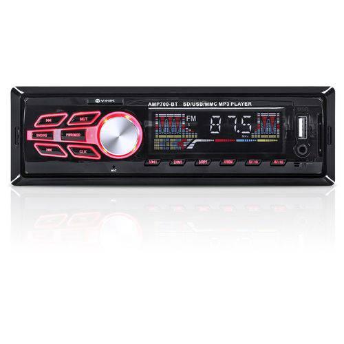 Som Automotivo Auto Radio Mp3 Player USB/sd/fm/aux/bluetooth 4x25w Amp700-bt