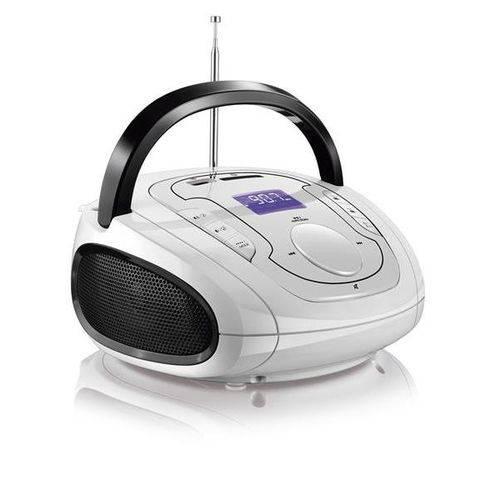 Som Portátil Bombox MP3 e Bluetooth - Branca e Preta - Multilaser SP185
