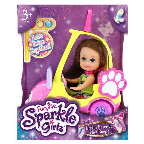 Sparkle Girlz Carro Mini Sparkles Amarelo e Boneca Morena 4806 - Dtc